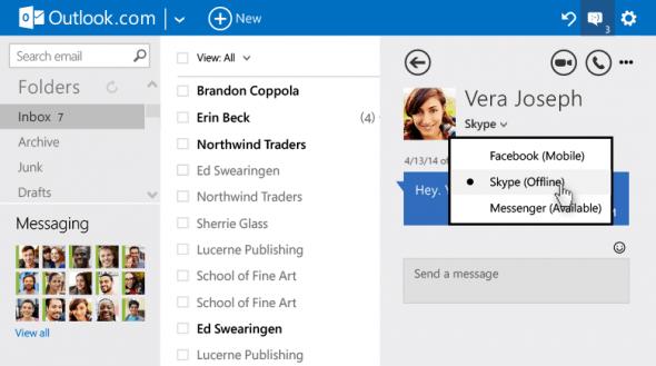 用戶於 Outlook 更新後就會在收件箱的左下方找到最近的對話記錄及朋友中誰在線上