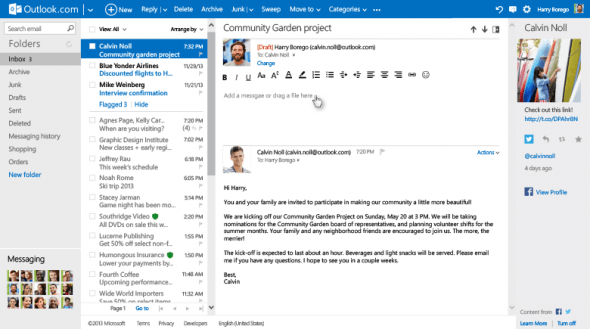 更新後的 Outlook 亦支援在對話內回覆的功能