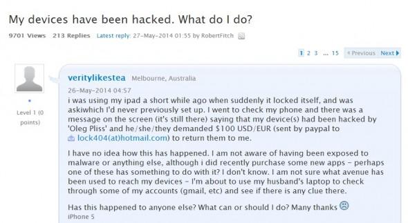 有用戶在 Apple 官方論壇上指自己的 iOS 裝置被駭