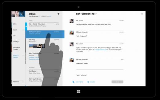 觸控式 Outlook 的截圖