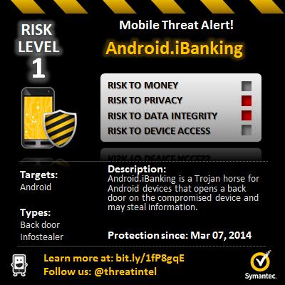 Symantec 發現 iBanking 已由過往專門攻擊網路銀行與線上理財變為為更危險的Android 惡意程式