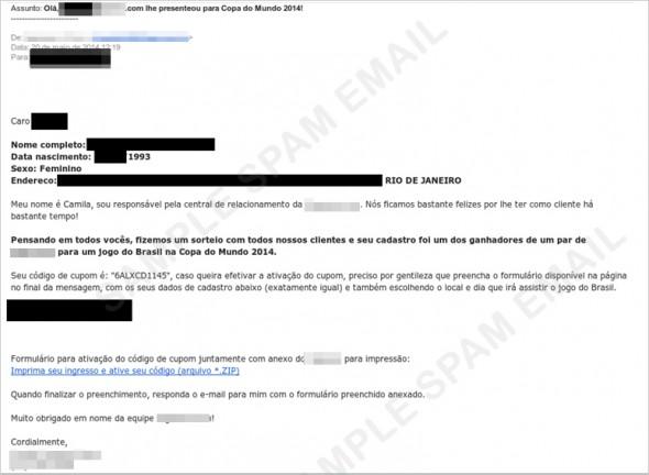 郵件內容聲稱收件者可參加世界杯門票抽獎,誘使受害人點擊連結。