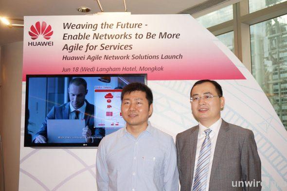 香港鳳凰衛視訊息及網絡管理部副總監王宏波(左)和華為香港企業業務部總經理盧永平合照。