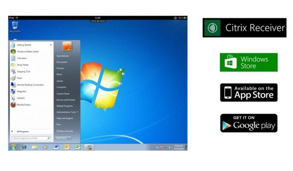 利用虛擬桌面可讓員工在 流動裝置(如iPad 平板電腦等)也都能如常使用熟悉的 Windows 桌面,隨時隨地在不同地方使用相同的桌面工作。