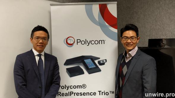 Polycom 香港區域經理蔣紀廉(左)及香港及台灣技術銷售經理曹國強(右)
