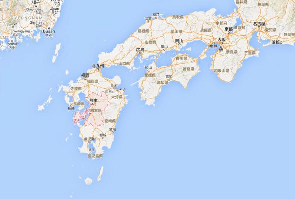 日本九州島與熊本縣位置