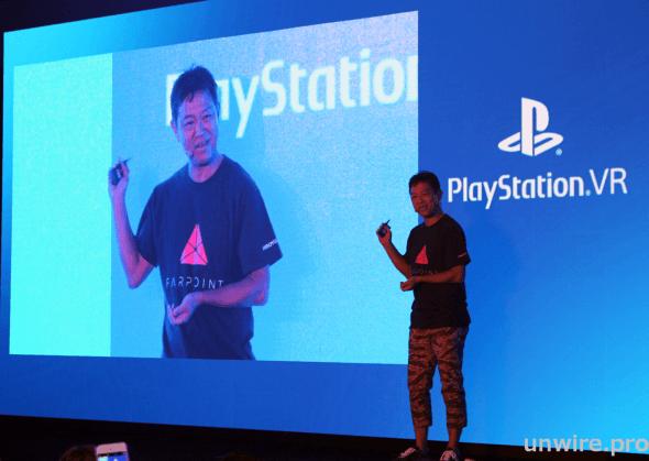 織田博之在發布會上介紹 PS VR 聯同亞洲各地廠商推出的遊戲內容