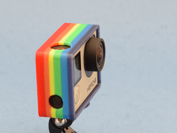 利用 NIX Full Color 3D Printer 印製的彩色相機保護外殼。