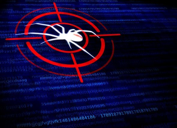 Digital malware concept - Black widow spider in the crosshairs