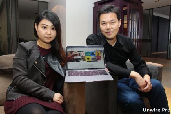Latticespace 行政總裁裴瑋(左)及技術總監常榮華(右)展示聊天機械人方案 Whatsquare。