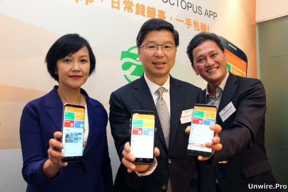左起,八達通營業及市務總監李玉兒、行政總裁張耀堂及技術總監甘志深
