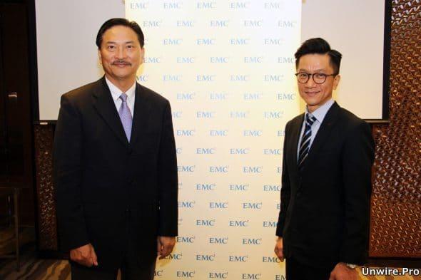 EMC 營銷總監曾冠文(左)及香港、澳門區系統工程總監羅偉文(右)