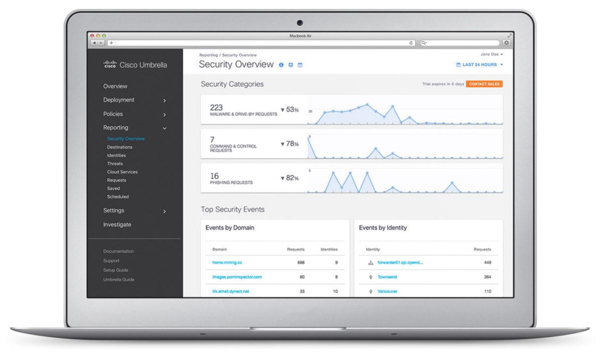 Cisco Umbrella 的安全總覽版面只需透過瀏覽器便能打開,故部署和管理是十分方便。