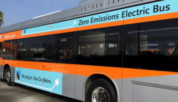 View of a BYD electric bus being tested by the Los Angeles County Metropolitan Transportation Authority in Los Angeles