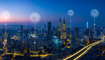 Panorama aerial view in the  cityscape skyline  with smart services and icons, internet of things, networks and augmented reality concept , early morning sunrise scene .
